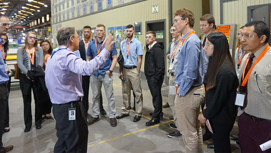 engineering students visiting potential employer