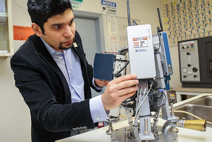 engineering researcher working in lab