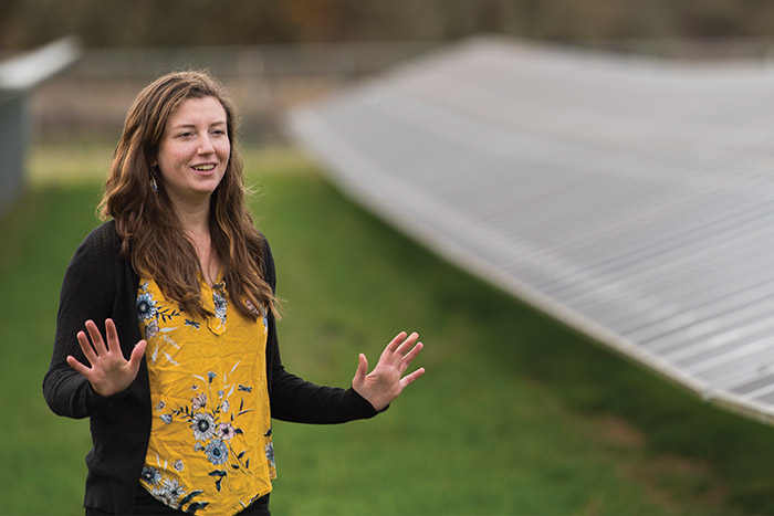 Phylicia Cicilio helps integrate solar panels