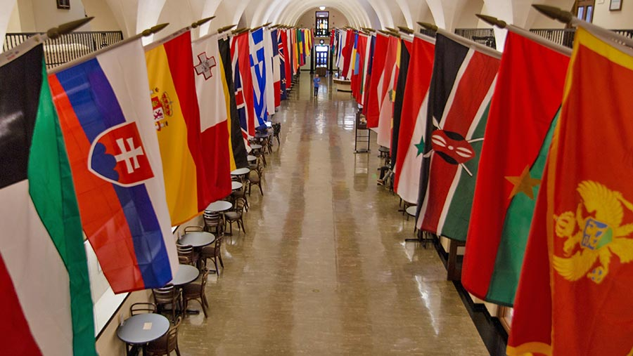 Flags from countries of students attending Oregon State