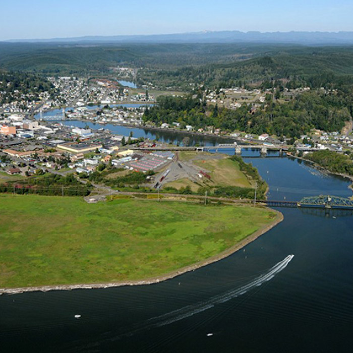 Aerial view of Grey's Harbor and river.