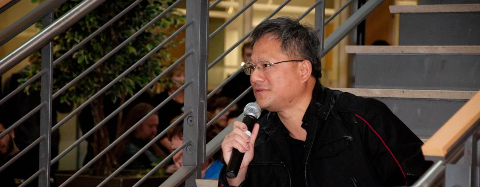 "Jen-Hsun ""Jensen"" Huang speaking to group"
