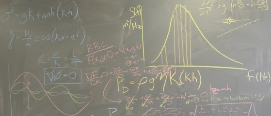 Equations on chalkboard