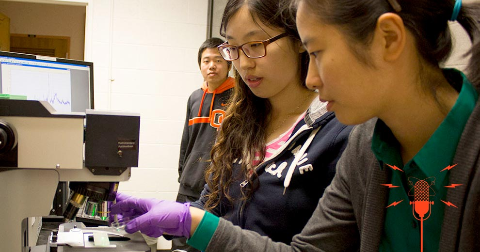 Grad Students Le Zhen, Fanghui Ren, and Jing Yang use a Ramen spectrophotometer