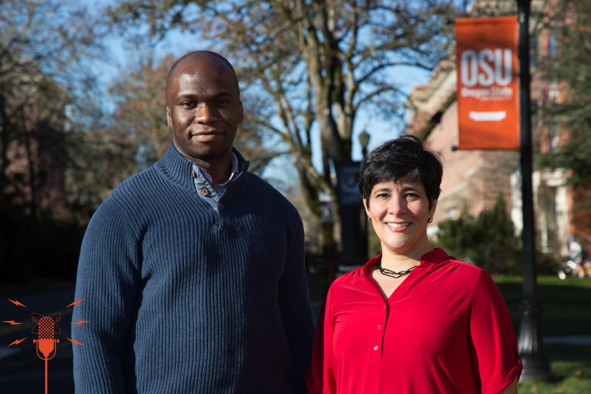 Assistant Professor Chinweike Eseonu and Spanish Senior Instructor Loren Chavarria