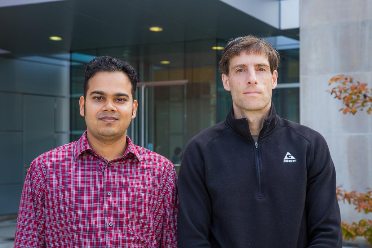 Alan Fern, professor of computer science, (right) and his a Ph.D. student, Amran Siddiqui (left) are advancing methods of detecting cyberattacks known as advanced persistent threats.