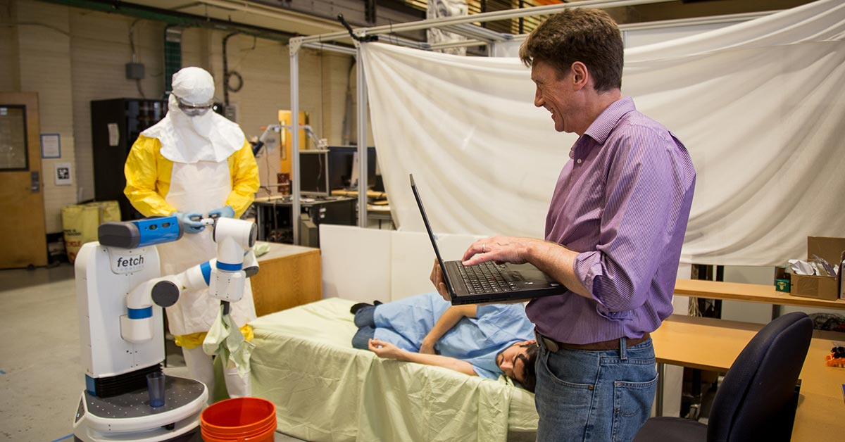 Bill Smart, professor of robotics at Oregon State University, is exploring how robots may be most useful during disease outbreaks.